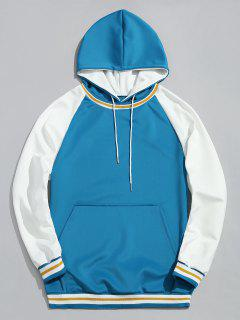 Contrast Color Kangaroo Pocket Pullover Hoodie - Lake Blue L