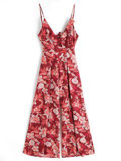 Cami Floral Cut Out Ruffle Jumpsuit - Floral M