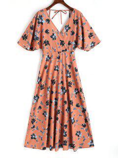 Open Back Floral Kimono Sleeve Maxi Dress - Floral L
