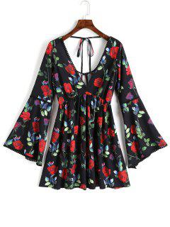 Open Back Floral Flared Sleeve Mini Dress - Floral L