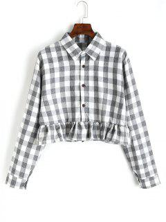 Button Down Plaid Ruffle Shirt - Checked L