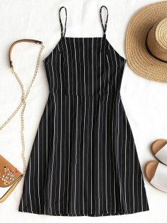 Drawstring Striped Open Back Mini Dress - Black S