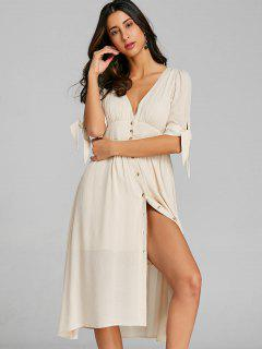 Empire Waist Button Up Dress - Glitter Creamy White L