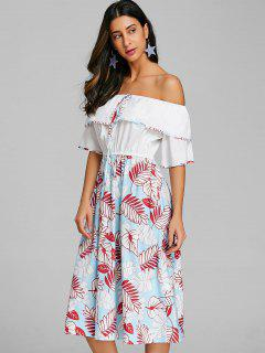 Print Layered Off The Shoulder Dress - Multi S