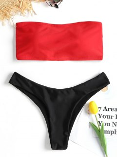 Lace-up Bandeau Bikini Set - Red M