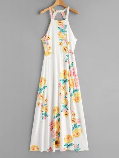 Tied Floral Open Back Maxi Dress - White L
