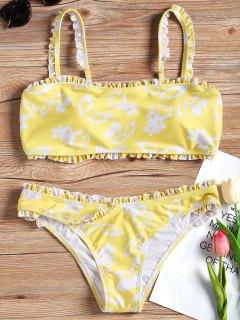 Passe -Bikini-Set Mit Pflanzendruck - Gelb S