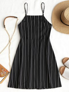 Drawstring Striped Open Back Mini Dress - Black L