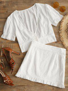 Openwork Plunge Top And Ruffle Skirt Set - White L