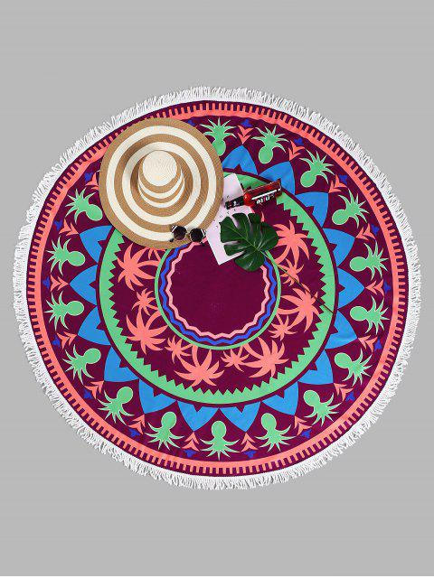 fancy Tassel Tropical Plant Round Beach Towel - PURPLISH RED ONE SIZE Mobile