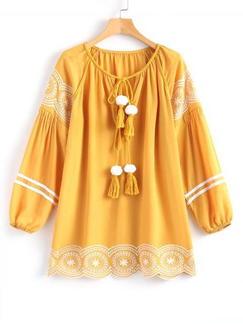 women's Long Sleeve Embroidered Tassel Mini Dress - GINGER S Mobile