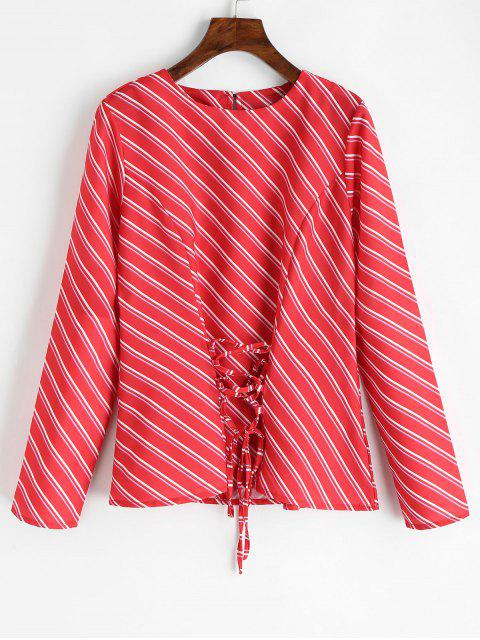 new Lace Up Oblique Stripes Blouse - RED L Mobile