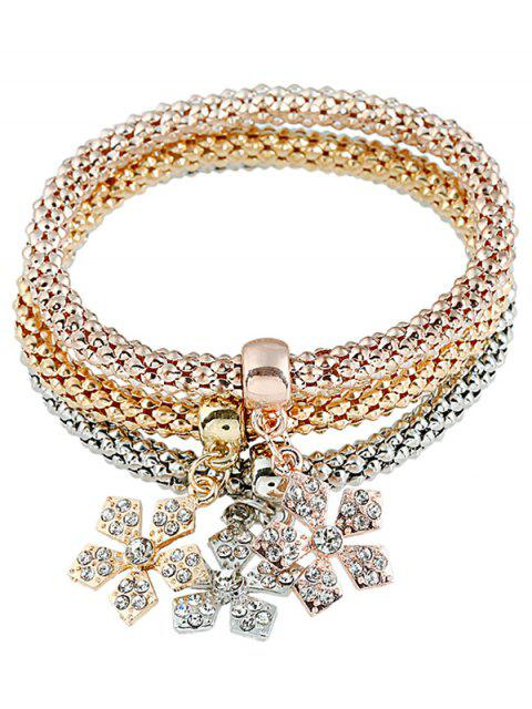 Faux Diamond Schneeflocke Puffmaiskette Geschichtete Armband Set - COLORMIX   Mobile