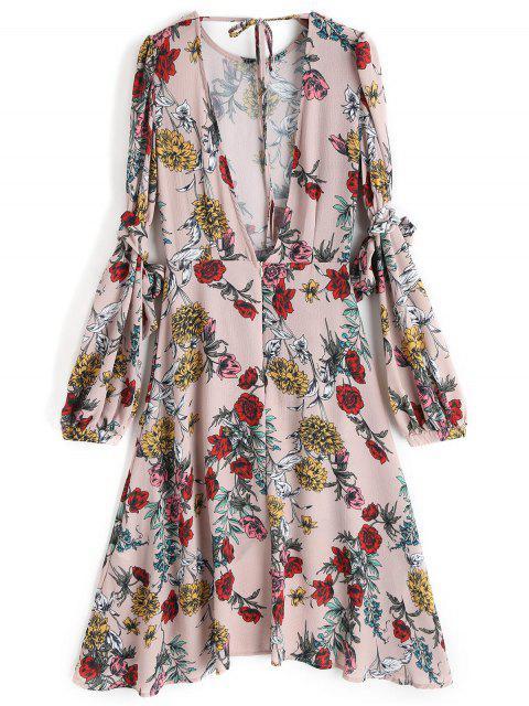 Vestido a media pierna asimétrico abierto floral - Floral S Mobile