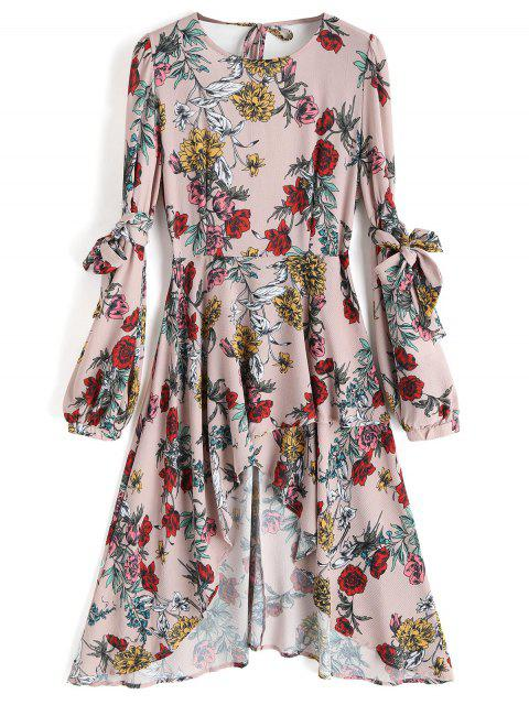chic Floral Open Back Asymmetrical Midi Dress - FLORAL L Mobile
