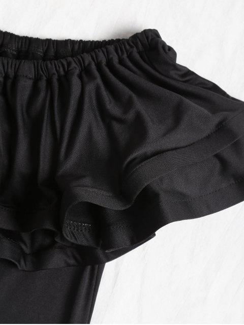 Blusa de vuelo con volados y hombros descubiertos - Negro S Mobile