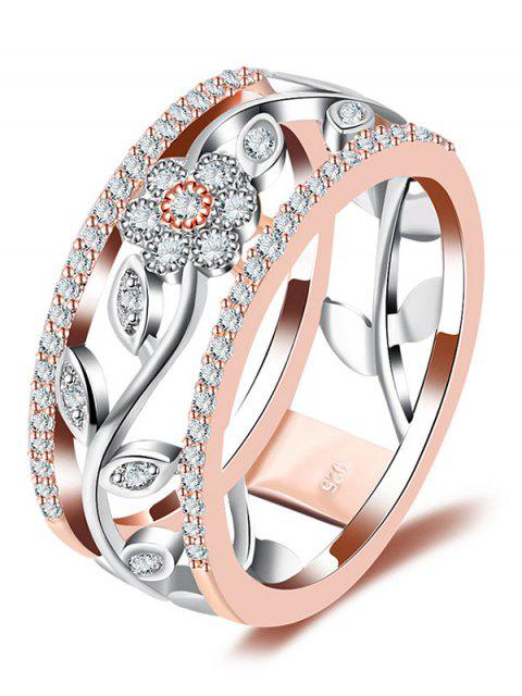 shop Faux Diamond Wreath Hollow Out Design Ring - ROSE GOLD 8 Mobile