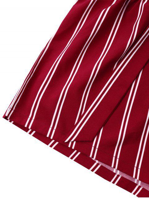 Short Rayé à Jambes Larges avec Ceinture Nouée - Rouge vineux  XL Mobile