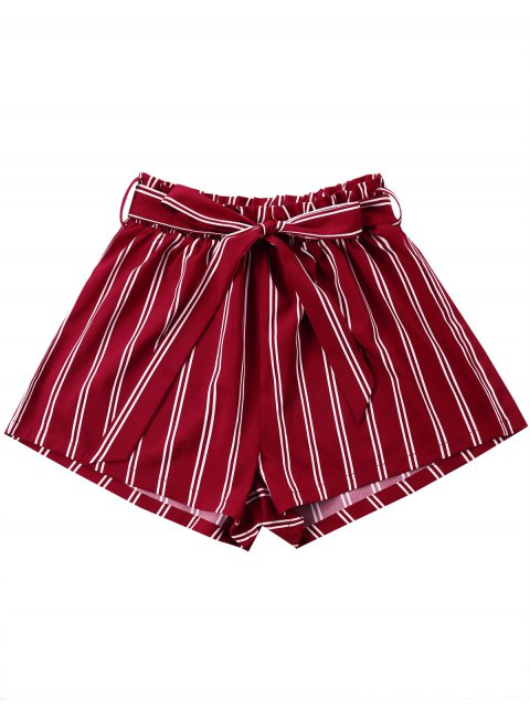 unique Striped Wide Leg Shorts with Tie Belt - WINE RED 2XL Mobile