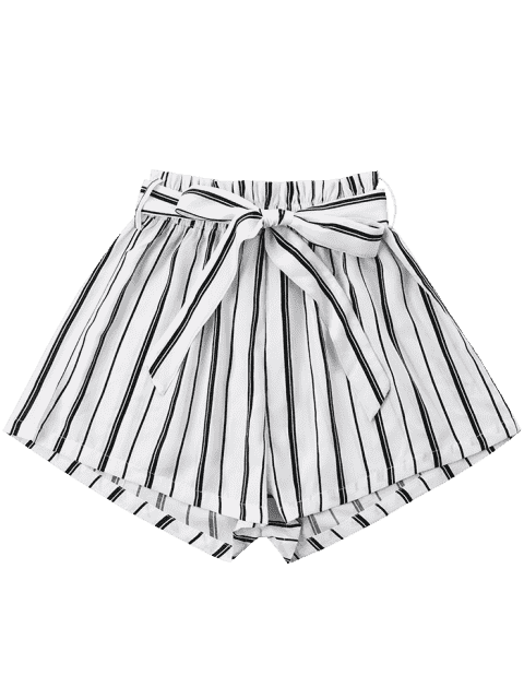 Short Rayé à Jambes Larges avec Ceinture Nouée - Blanc S Mobile