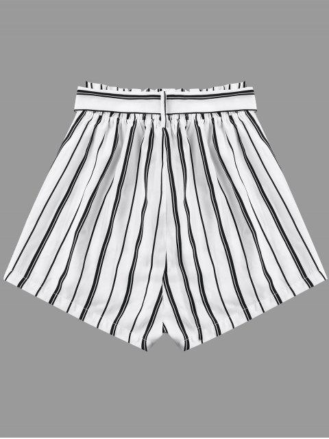 sale Striped Wide Leg Shorts with Tie Belt - WHITE S Mobile