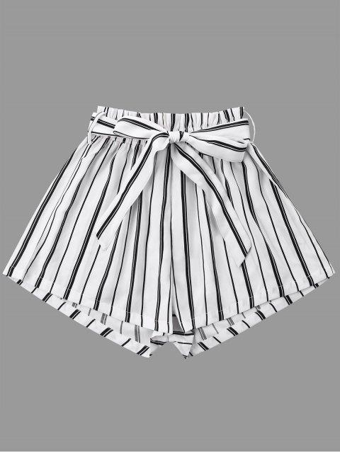 Short Rayé à Jambes Larges avec Ceinture Nouée - Blanc L Mobile