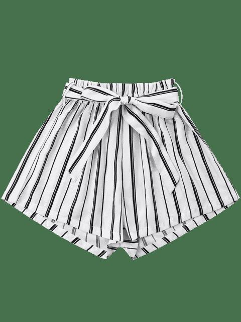 Short Rayé à Jambes Larges avec Ceinture Nouée - Blanc XL Mobile