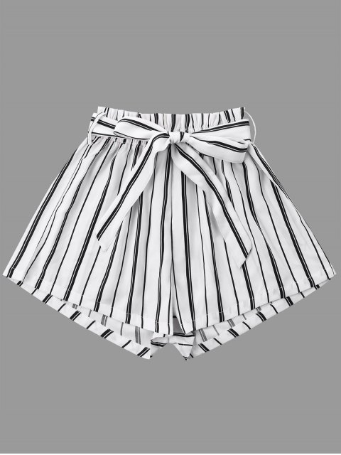 women Striped Wide Leg Shorts with Tie Belt - WHITE 2XL Mobile
