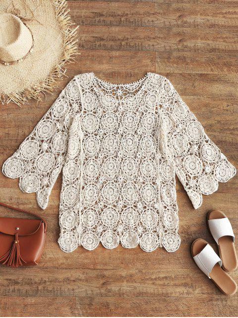 best Openwork Crochet Top - BEIGE ONE SIZE Mobile