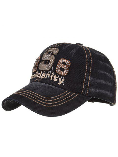 lady Unique Solidarity Embroidery Adjustable Baseball Hat - BLACK  Mobile