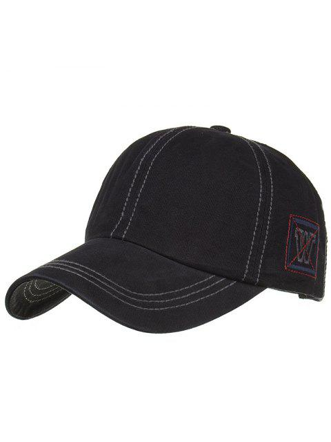 online Unique W Embroidery Adjustable Baseball Cap - BLACK  Mobile