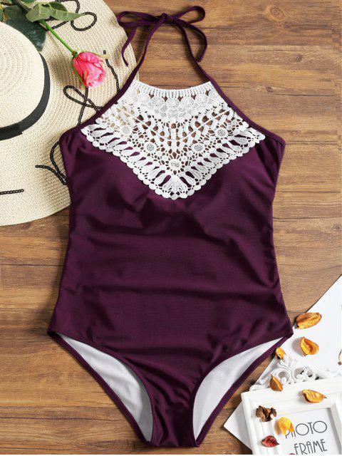 womens Crochet Insert Back Bowtie Swimwear - CLARET L Mobile