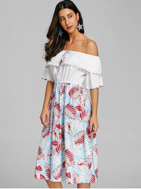 women's Print Layered Off The Shoulder Dress - MULTI XL Mobile