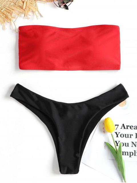 shop Lace-up Bandeau Bikini Set - RED L Mobile