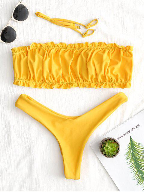 Ensemble Bikini String à Volants - Jaune M Mobile