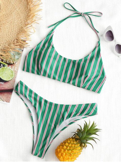 women Stripe High Cut Bikini Set - GREEN S Mobile