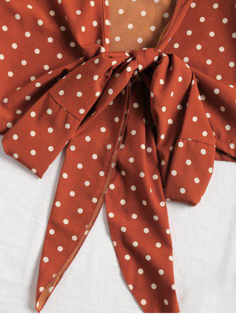fancy Plunging Neck Polka Dot Tied Blouse - DOT PATTERN S Mobile