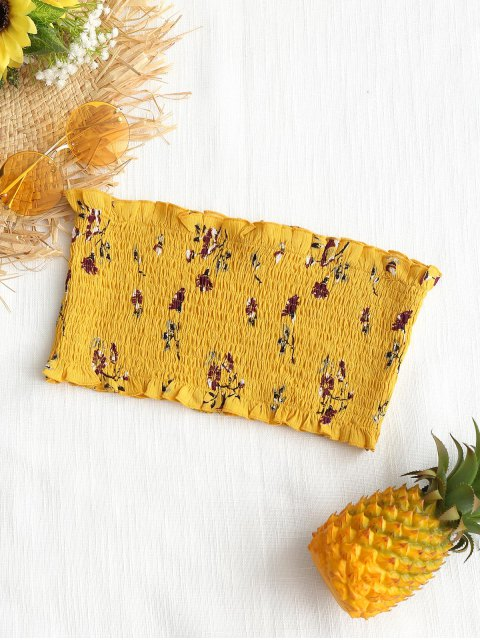 chic Smocked Frilled Floral Tube Top - YELLOW ONE SIZE Mobile