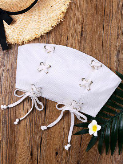 Lace Up Strapless Crop Top - White L