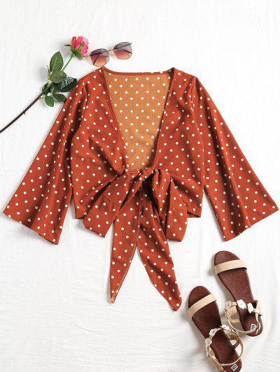 Plunging Neck Polka Dot Tied Blouse - Dot Pattern S