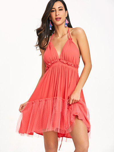 Ruffle Halter Summer Dress - Vermelho Melancia Xl