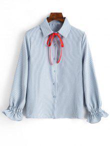 كم قميص عمودي مخطط مع بونوت - الضوء الأزرق L