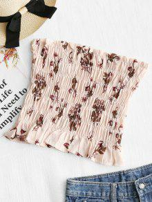 14bd7fe243 17% OFF  2019 Shirred Floral Tube Top In BEAN PASTE COLOR