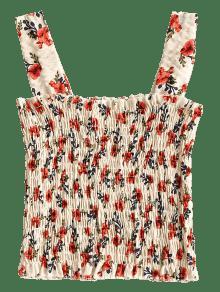 Blancuzco Camiseta Sin Mangas Con Floral Volantes Fruncida 0xYr4x