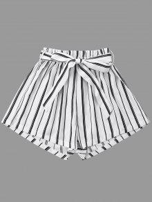 مخطط الساق واسعة الساق مع حزام التعادل - أبيض 2xl