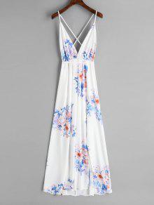 الشيفون عارية الذراعين الزهور فستان ماكسي - أبيض L