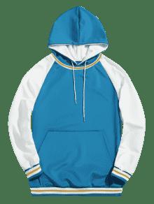 Azul Color Lago De Contraste En L Pocket Con Kangaroo Sudadera Capucha zwZqTUgR