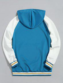 De Con Sudadera En Capucha Color Lago Contraste L Azul Pocket Kangaroo xf114qn