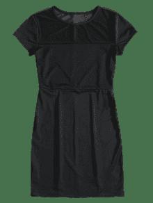 Mini De Negro Ajustado Vestido S Malla rppHx