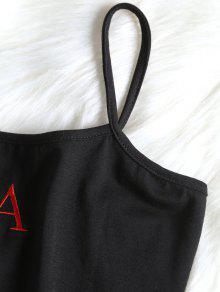 Mangas Sin Cropped M Bordada Camiseta Negro Cami Letter WIOUTTnq